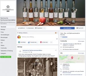 Facebook-Auftritt der Sächsischen Spirituosenmanufaktur