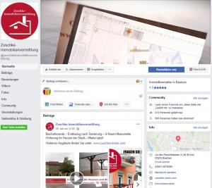 Facebook-Auftritt der Zuschke-Immobilienvermittlung